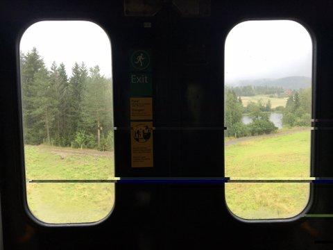 MELLOM TO STASJONER: 15.02-toget fra Oslo står mellom Hakadal og Harestua.