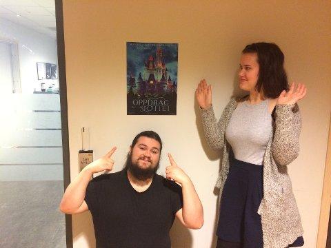 Bendik Simensen (19) og Ingrid Marie Lunder (18) inviterer til en morsom kveld til ettertanke. Oppdrag Slottet spilles 17. og 18. februar i Hadeland Kultursal.