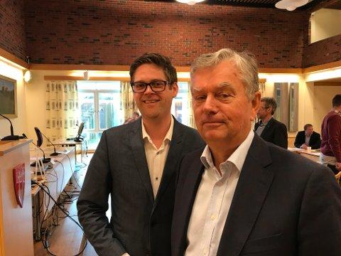 LEDELSEN: Styreleder i Hadeland Energi AS, Bjørn Niklas Sjøstrøm, sammen med daglig leder Stein Aukner, som er leid inn i selskapet.