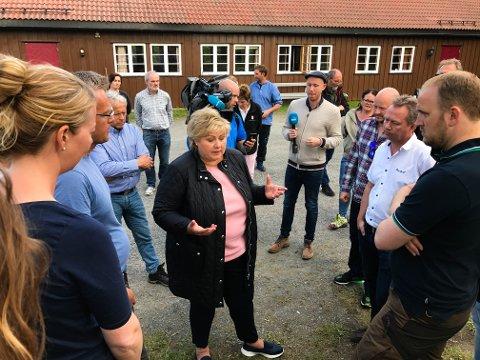 I FJOR: Statsminister Erna Solberg og landruksminister Jon Georg Dale  i samtale med Kjetil Ulset i Gran saubeitelag og sauebøndene Lene Karen og Arne Bilden.