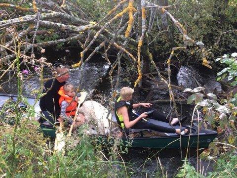 FULL KANO: Det var både fullt og vått i kanoen da Ole Torstein, Kristian (7) og Håkon (13) la ut på tur.