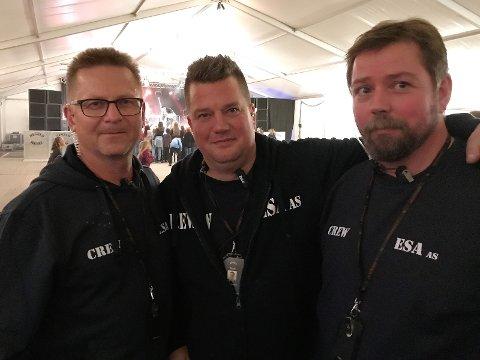 ARRANGØR: Esa AS og Rebels Music var arrangør av ungdomsfesten. Fra venstre: Øistein Lysenstøen, Morten Wien og Ove Johny Myrås.