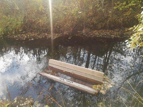 I VIGGA: Noen har slengt benken ved Hofsbro ut i Vigga.