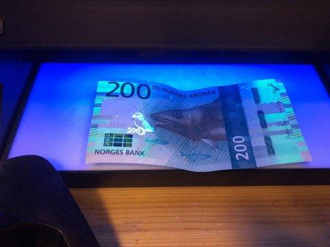 200-LAPP: I en lysmaskin med ultrafiolett lys ser man en fugl på 200-kronersseddelen.