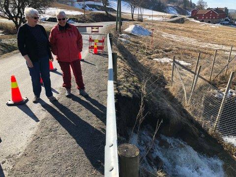 BEKYMRET: Nabolaget, med blant annet Turid Aalerud Hansen og Karin Kjos, ble bekymret da de så at vannet under vegen lagde en ny veg tirsdag. Onsdag stengte Mesta vegen.