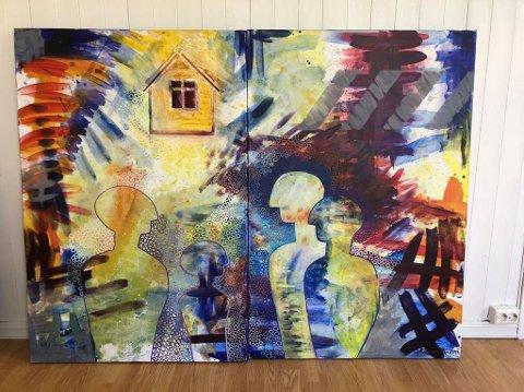 UTSTILLING: Et av Grete Marsteins malerier på utstillingen.