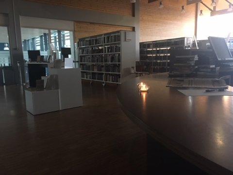 Her har strømmen vært borti i en time. «Koselig på Gran bibliotek i dag, strømmen er fortsatt borte på Hadeland videregående skole», skriver Svein Myrdahl.