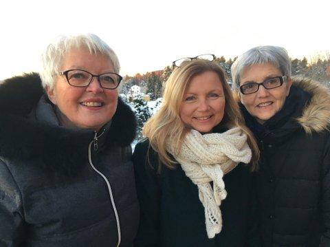 VENNER: Disse tre damene jobber som frivillige verter i Glasslåven og står bak nyvinningen Glasslåvens venner. Fra venstre: Anne Marie Hvattum, Astrid Schultz og Wenche Hagen.