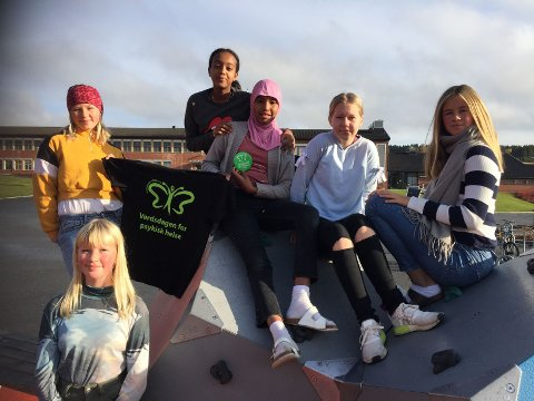 Seks representanter fra 7. trinn på Brandbu barneskole. Fra venstre Elina Skarstad, Rodas Sefu, Siham Ahmed, Marlin Bransrud, Maria Elvestuen og Lise Marie Grimsbø foran.