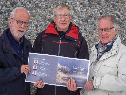 Undring: Hans Erik Raustøl, Bjørn Haslerud og Jan Reidem er klare med bok. Mandag inviteres det til nytt bokbad, denne gangen på Lidskjalv.