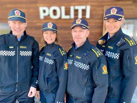 NYE JOBBER: Denne kvartetten har fått nye jobber ved lensmannskontoret. Fra venstre Lars-Eirik Madssen, Heidi Staxrud, Jan Erik Solberg og Heidi Fuglehaug.