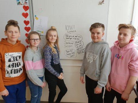 Forberedelse til besøk på Kiwi: Lucas F. Eriksson, Lise Koller, Eva Brandrud, Emil Edvardsen og Rolf Mattheus K. Wolden.