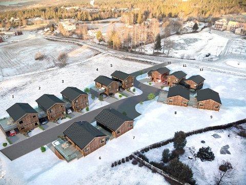 BOLIGFELTET: Oversiktbilde over de 12 leilighetene som planlegges bygd i Rognstadvegen.