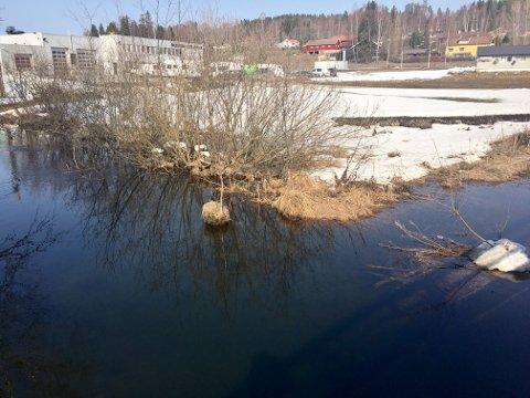 EN DEL VANN: Det har blitt mer vann enn normalt ved Bilskaden på Jaren, men det er langt unna flomfare.