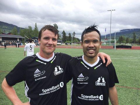 SCORET TO HVER: Bjørn-Joachim Myrdahl (til venstre) og Narogdet Raksanoi Solbakken scoret begge to mål mot Eidskog.