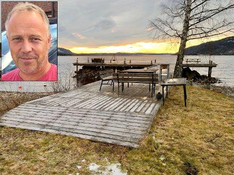 Må skilte: Lars Magnus Braaum fikk dispensasjon slik at denne brygga i Gjærvika kan få stå. Forutsetningen er at den skiltes som tilgjengelig for allmenheten.