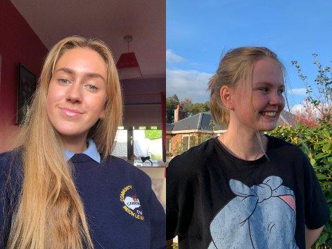UTVEKSLINGSSTUDENTER: Amalie Raknerud Holen (17) og Oline Næss (17) fra Gran reiste til Irland som utvekslingsstudenter i slutten av august. Nå er hele landet i lockdown.