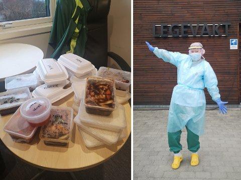 GRATIS MAT: Ved Lunner og Gran legevakt har de fått gratis mat fra restaurant Lung Garden i Brandbu.