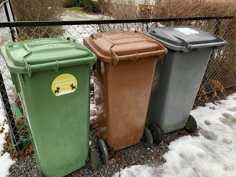 SKAL BYTTES FORTLØPENDE: Etter hvert som avfallsbeholderne er klare for utskifting skal de erstattes med nye dynker og symboler.