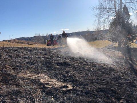 SLUKKET GRESSBRANN: Nylig måtte brannvesenet rykke ut til gressbrann i Raasumsgutua i Brandbu.