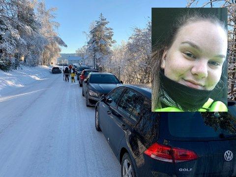 ENGASJERT: Nora Lappegård Johansen (22) så seg nødt til å ringe politiet om det hun mener er trafikkfarlig parkering langs vegen på Stryken. Bildet er fra søndag 3. januar.