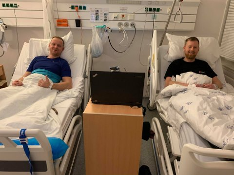PÅ DOBBELTROM: Kameratene Stian Lorentzen-Oftedal (til venstre) og Thomas Horn Teigen havnet begge på Nordlandsykehuset Lofoten etter å ha vært på samme trening. Foto: Privat