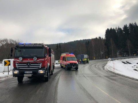 ULYKKE: To lastebiler er involvert i en trafikkulykke tirsdag formiddag.