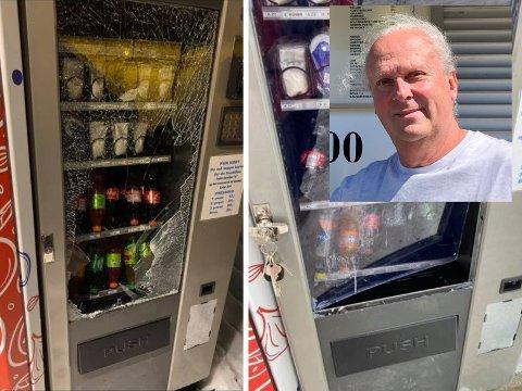 INNBRUDD: Noen har brutt seg inn for fjerde gang i brusautomaten til Pizzagutta. Bjørn Nilsson er nå drittlei.