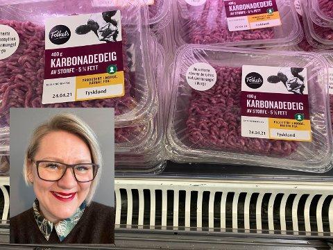 TYSK KJØTT I HYLLENE: Den tyske kjøttdeigen og karbonadedeigen ligger side om side med den norske, og har samme pris. - Det er ikke lett å være forbruker i dag.
