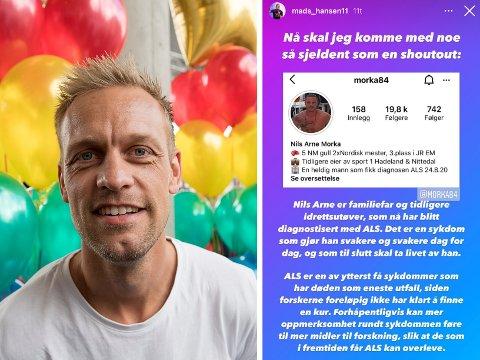 PUNGER UT: Mads Hansen har oppfordret sine nesten 500.000 følgere om å følge Nils Arne Morka fra Jaren på Instagram. Det kan fort bli kostbart for Spårtsklubben-kjendisen.