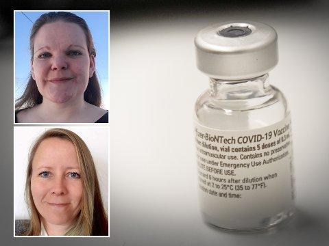 FULLVAKSINERT: Til uka vil mange bli fullvaksinert i følge vaksinekoordinatorene Lisa Tolpinrud (topp) og Camilla Worvik Orbraaten.