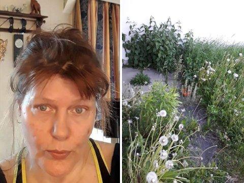 FORTVILER: Cathrine Strømme fortviler over at kommunen ikke klipper plenen lengre.
