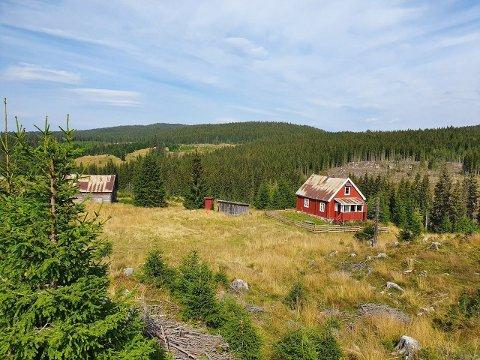 BELIGGENHETEN: I Nedre Pikmyrbakken, med utsikt ned Helgedalen og mot Einavatnet, ligger den hytta ute for salg.