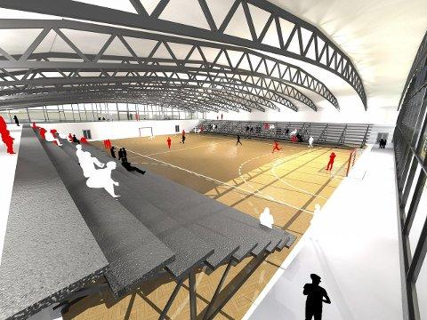 Elitearena: Flere tegninger er laget til den planlagte hallen. Planen er at hallen skal tilfredsstille kravene fra forbundet om en elitearena i håndball.tegning: SG arkitekter