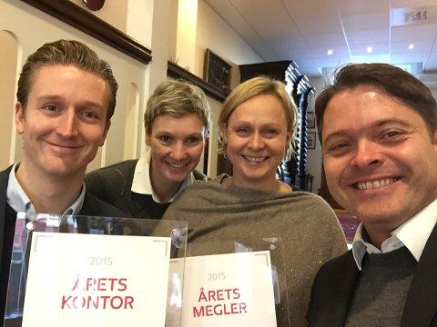 Denne gjengen er blant de beste eiendomsmeglerne i Norge. Aktiv Halden. Fra venstre:Jon Ivar Ask, Cecilie K.Thowsen, Rita Eng, Lars-Håkon Nohr.