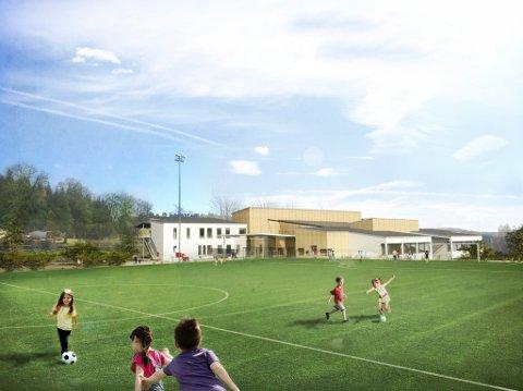 HOVEDINNGANGEN: Slik blir skolen seende ut fra nordsiden mot Risum ungdomsskole.
