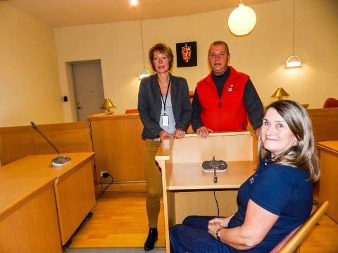 VITNESTØTTE: Laila Walheim(i vitneboksen) og Bernard Kilde fra Røde Kors sammen med saksbehandler Ann -Christin Eriksen i Halden tingrett. De håper mange melder seg som frivillig vitnestøtte.
