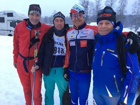 TUNGT LØP: Fire haldensere som fikk et tungt Vasalopp. Jens Erik Mjølnerød (fv), Bjørn Axel Gran, Arnt Edvin Andersen, Bredo Glomsrød.