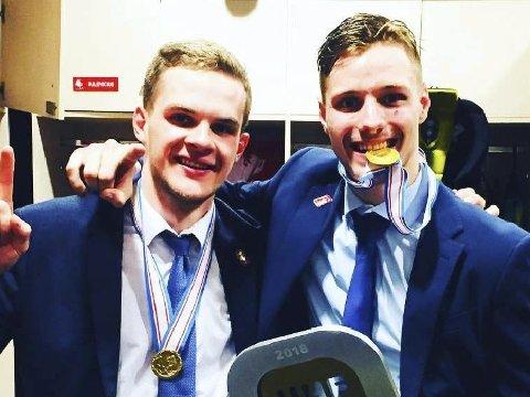 Jubel: Ugnius Cizas og Paulius Gintautas vant gull med Litauen.