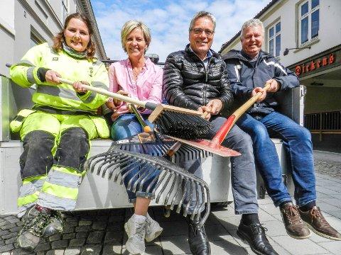 RYDDEDUGNAD: Irene Østnes (fra venstre), Anette Henning, Thor Edquist og Hans-Petter Kjøge vil gjerne ha deg med på laget og blir med på aksjonen onsdag 9. mai.