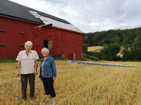 VINDKAST TOK LÅVETAKET: Under uværet i går ble deler av låvetaket til Trond og Anne-Kari Holm revet vekk.
