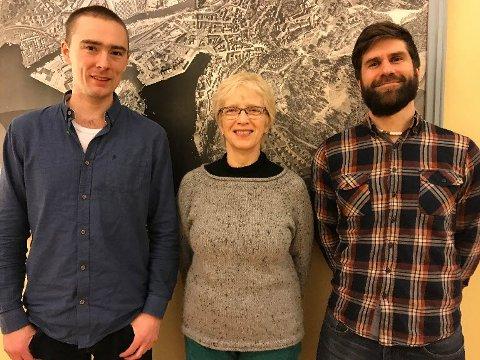 Miljøpartiet de Grønne i Halden har valgt denne trioen på topp for sin liste til kommunevalget i september.  F.v: Johan Johansen, Vibeke Julsrud og Simen Paulsen.