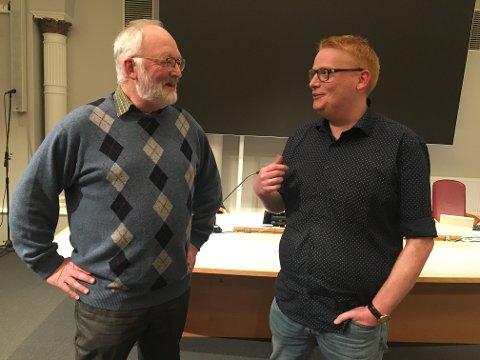Øivind Holt og Fredrik Holm i en frisk debatt om boligutbygging.