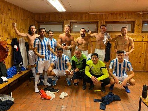 MER JUBEL?: Fredrikshald jublet for to seiere i Trondheim i fjor. Neste lørdag sparkes en ny elitesesong i futsal i gang, med hjemmekamp mot sterke Sjarmtrollan.