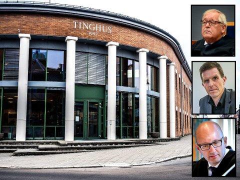 Advokatnestor Thorer Ytterbøl (øverst), direktør i Sarpsborg kommune Sigmund Vister og advokat Gaute Nilsen er klare på at en felles Østfold tingrett bør ligge i Sarpsborg.
