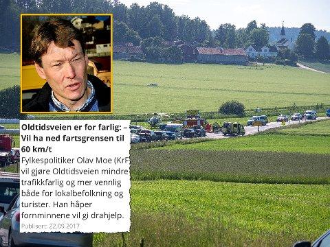 KLAR TALE: Krf-politiker Olav Moe ville ha ned fartsgrensen på Oltidsveien allerede i 2017. Så langt har han talt for døve ører. Montasje: Tobias Nordli/Jarl M. Andersen/Skjermdump
