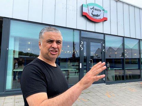 MIDLERTIDIG STENGT: Hakan Kayhan har valgt å stenge dørene til spisestedet Amore mens utbyggingsarbeidet foregår på Tista senter.