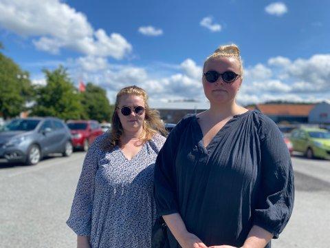 Karoline Norderhaug (t.h) og Charlotte Slettås ringte politiet da de oppdaget hund i en bil i solsteika på mandag.