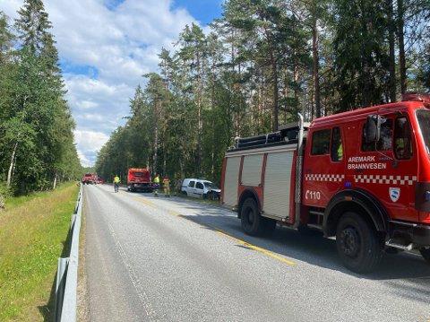 Aremark Brannvesen var blant nødetatene som rykket ut til ulykken.