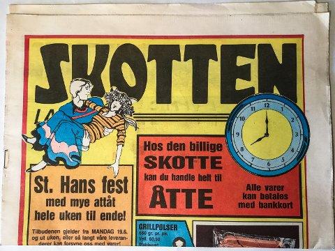 NEDLAGT KJEDE: Skotten-kjeden eksisterer ikke lenger, men Sonja har tatt vare på kundeavisa.